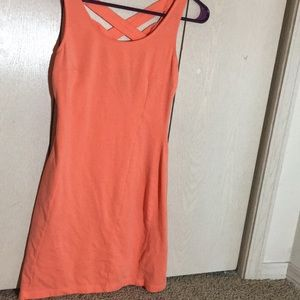 Coral skater dress With criss cross back